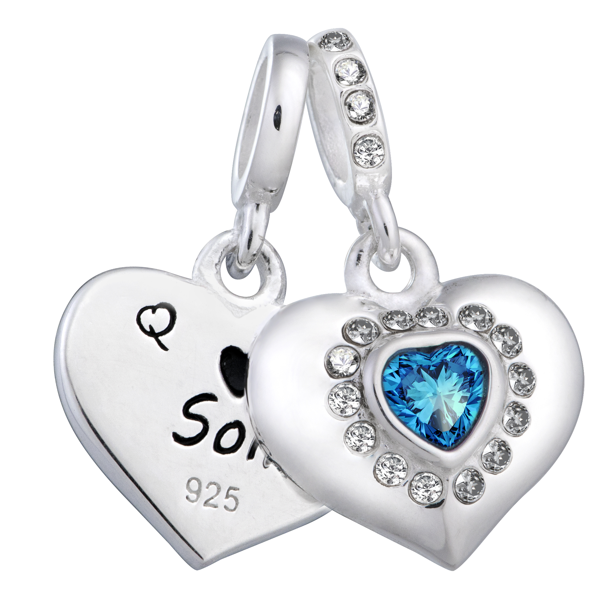 925 Sterling Silver Mom & Son Love Heart Blue CZ Dangle Bead for European Charm Bracelets