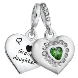 925 Sterling Silver Grandmother & Granddaughter Love Heart Green CZ Dangle Bead for European Charm Bracelets