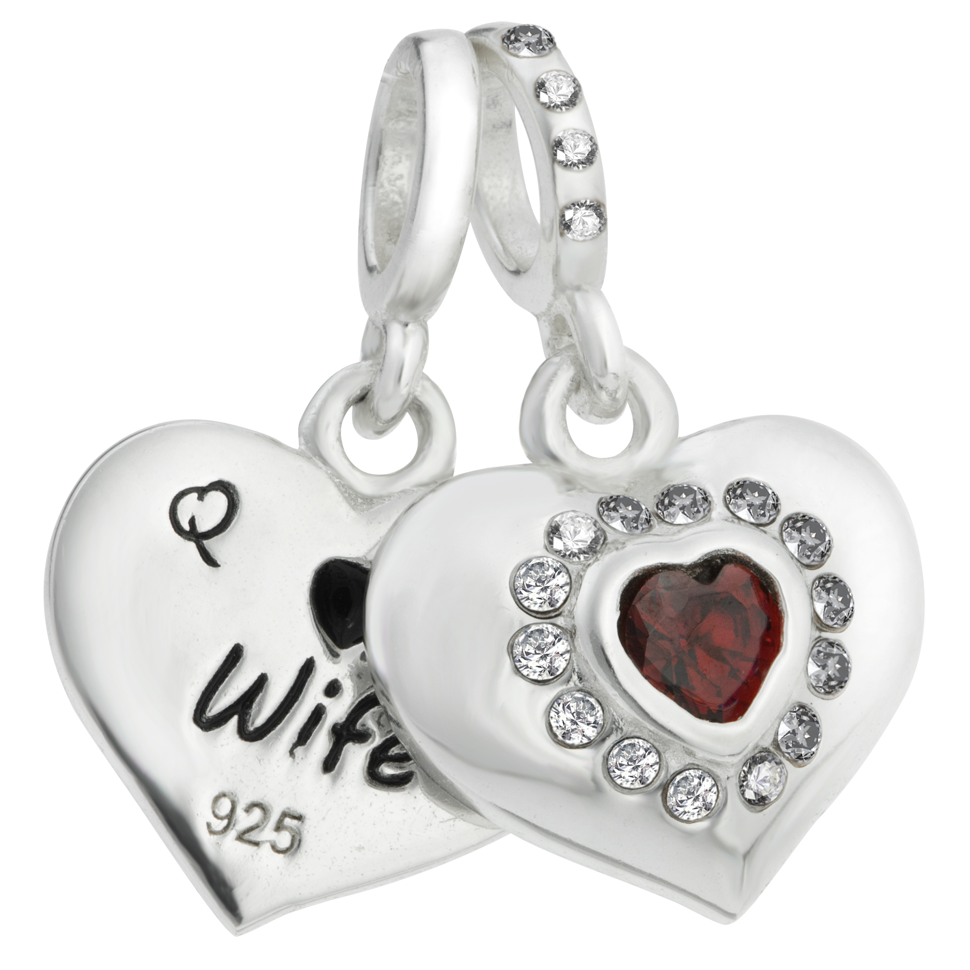 1x 925 Sterling Silver Husband & Wife Love Heart Red CZ Dangle Bead for European Charm Bracelets