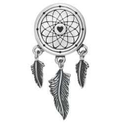 1x 925 Sterling Silver Dream Catcher Net Feather Dangle Bead for European Charm Bracelets