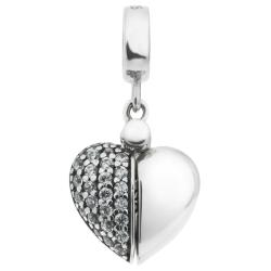 1x 925 Sterling Silver I Love You Heart CZ Dangle Bead for European Charm Bracelets