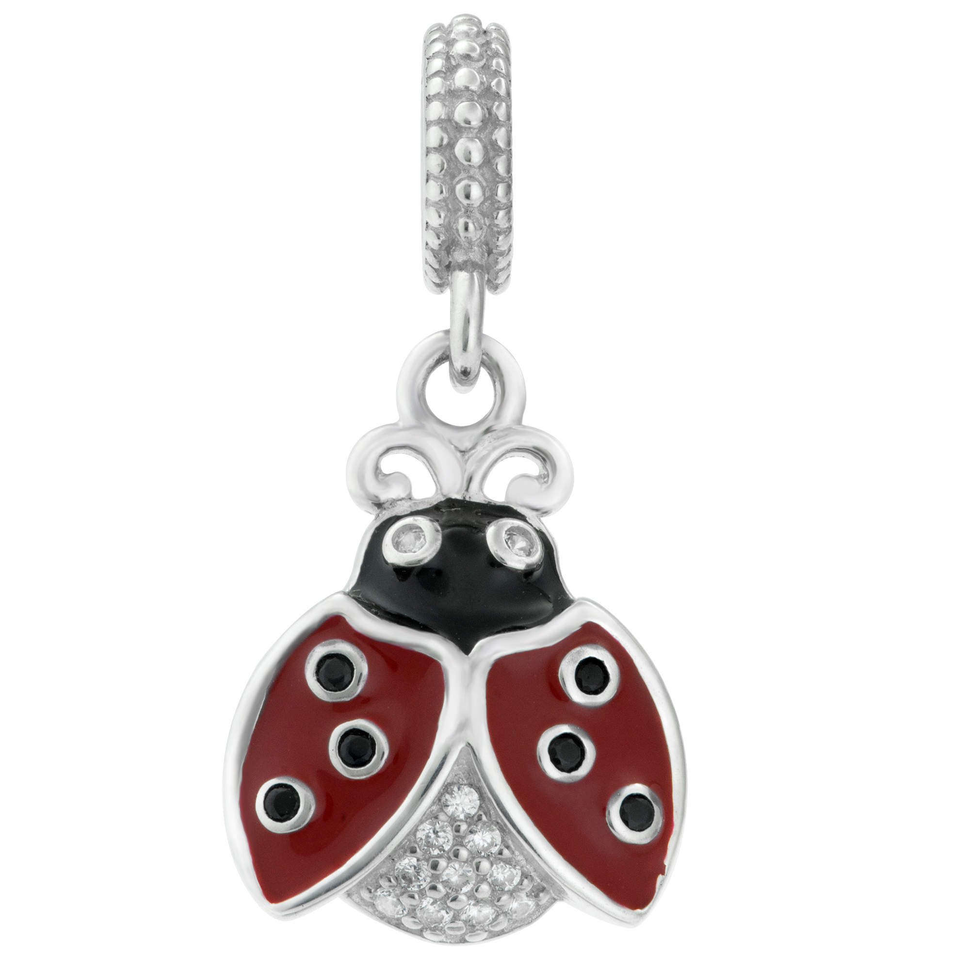 1x 925 Sterling Silver Lady Bug Enamel CZ Crystal Dangle Bead for European Charm Bracelets