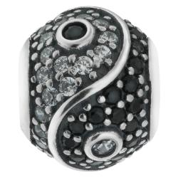 1x 925 Sterling Silver Yin Yang Tai Chi CZ Crystal Dangle Bead for European Charm Bracelets