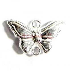 1 x Sterling Silver PUFF BUTTERFLY Bead connector 11mm x 18.5mm