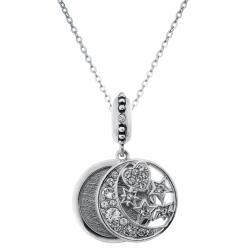 "925 Sterling Silver Personalized Photo Moon Star European Charm Pendant Chain Neclace 18"" Made of Swarovski Elements Crystal"