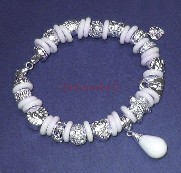 1x White Agate Round Rondelle Bead 10mm for European Charm Bracelets