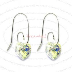 2x Sterling Silver Heart Clear AB Crystal Earring w/ Swirl Earwire Ear Wire Using Swarovski Elements Crystal