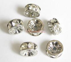 6x Rondelle Silver Bead Spacer Clear Crystals 4mm