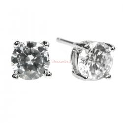 2x Rodhium on 925 Sterling Silver Round Clear CZ Crystal Stud Earring Post 6mm