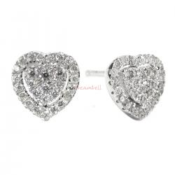 2x Rhodium on 925 Sterling Silver Love Sweet Heart Clear CZ Crystal Stud Earring Post