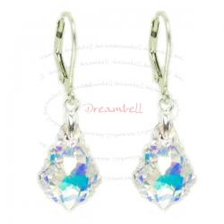 2x Sterling Silver Baroque Clear AB Crystals Leverback Dangle Earrings Using Swarovski Elements