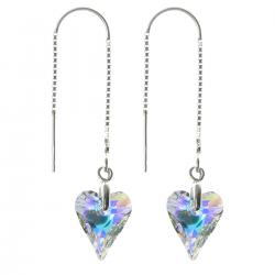 "2x 925 Sterling Silver Heart Clear AB Thread Dangle Earrings 1.75"" Made with Swarovski Crystal"