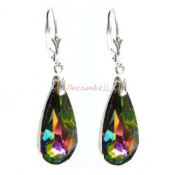 2x Sterling Sivler Teardrop Vitrail Medium Crystals Leverback Dangle Earrings Using Swarovski Elements Crystal