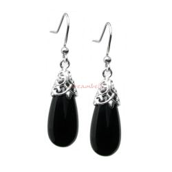 2x Sterling Silver Black Onyx Stone Teardrop Charm Dangle French Hook Earwire Earrings
