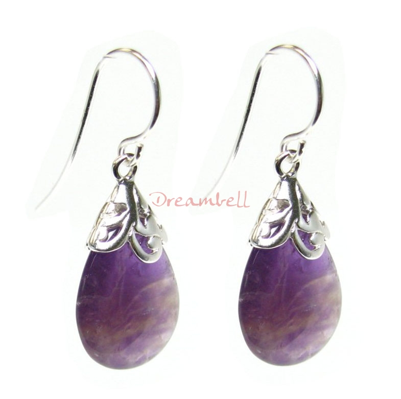 2x Sterling Silver Flower Bail Teardrop Amethyst Charm Dangle French Hook Earwire Earring