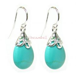 2x Sterling Silver Flower Bail Teardrop Turquoise Charm Dangle French Hook Earwire Earring