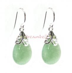 2x Sterling Silver Flower Bail Teardrop Aventurine Charm Dangle French Hook Earwire Earring