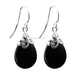 2x Sterling Silver Flower Bail Teardrop Black Onyx Charm Dangle French Hook Earwire Earring