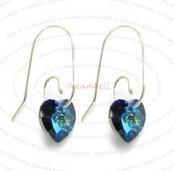 2x Sterling Silver Bermuda Blue Heart of Ocean Crystal Earring w/ Swirl Earwire Ear Wire Using Swarovski Elements Crystal