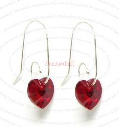 2x Sterling Silver Red Siam Heart Crystal Earring w/ Swirl Earwire Ear Wire Using Swarovski Elements Crystal