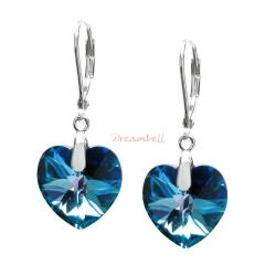 2x Sterling Silver Heart Bermuda Blue Crystals Leverback Dangle Earrings Using Swarovski Elements Crystal