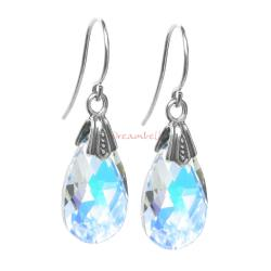 2x Sterling Silver Teardrop Clear AB Crystals Earring Hook Dangle Earrings Using Swarovski Elements Crystal