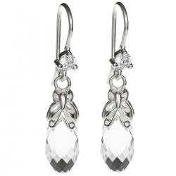 2x Sterling Silver Briolette Clear Crystals Butterfly Dangle Earrings Using Swarovski Elements Crystal