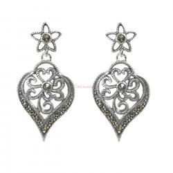 2x 925 Sterling Silver Marcasite Stone Bali Filigree Flower Petal Leaf Charm Dangle Stud Earring Post