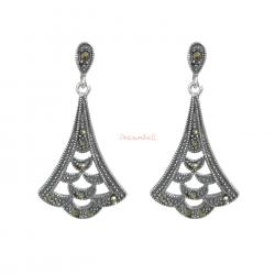 2x 925 Sterling Silver Marcasite Bali Flower Leaf Charm Dangle Stud Earring Post