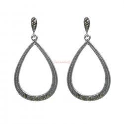 2x Bali Sterling Silver Marcasite Teardrop Loop Dangle Charm Stud Earring Post