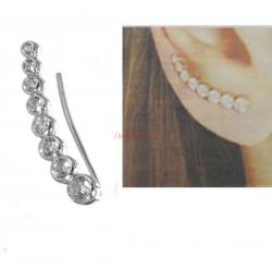 1x Rhodium on 925 Sterling Silver Clear CZ Crystal Dots Earring Cuff French Hook Earwire for Right Ear