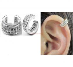 1x Rhodium on 925 Sterling Silver Round Clear CZ Crystal Clip Cuff Earrings / Ear Cuffs Wrap