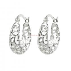 2x 925 Sterling Silver Bali Filigree Flower Ring Hoop Huggie Earring Set Earwire (Large)