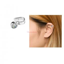 1x Rhodium on 925 Sterling Silver Clear CZ Crystal Dot Earring Cuff / Ear Cuffs Wrap