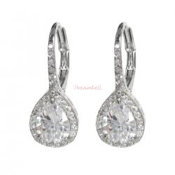 2x Rhodium on 925 Sterling Silver CZ Crystal Teardrop Charm Leverback Ear Wire Earring
