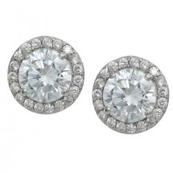 2x Rhodium on 925 Sterling Silver Daisy Round Clear CZ Crystal Stud Earring Post
