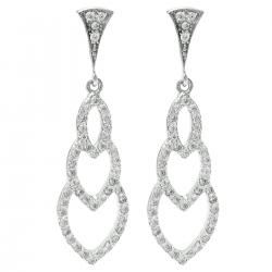 2x Rhodium on 925 Sterling Silver Clear CZ Crystal Triple Leaf Dangle Charm Drop Earring Stud Post