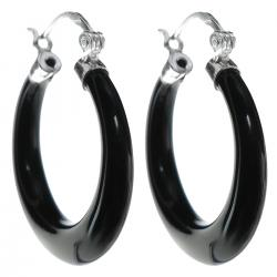 2x 925 Sterling Silver 25mm Natural Black Onyx Ring Drop Hoop Huggie Earring