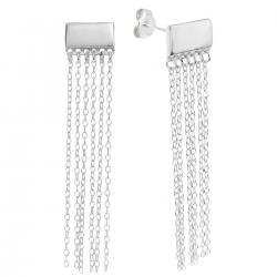 2x 925 Sterling Silver Plain Rectangle Tassel Chain Earring Stud Post