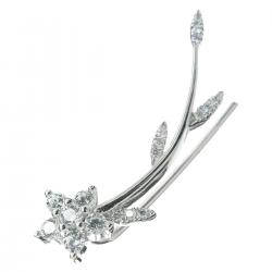 1x Rhodium on 925 Sterling Silver Flower Leaf Clear CZ Crystal French Hook Ear Cuff Wrap Earring for Left Ear