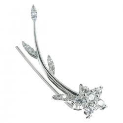 1x Rhodium on 925 Sterling Silver Flower Leaf Clear CZ Crystal French Hook Ear Cuff Wrap Earring for Right Ear
