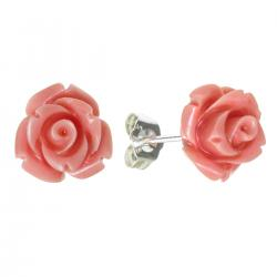 2x Sterling Silver Simulated Pink Coral Rose Earring Stud Post 10mm