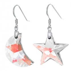 2x Moon and Star Clear AB Crystal & French Hook Earwires Dangle Earrings