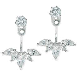 2x Rhodium on 925 Sterling Silver Clear CZ Crystal 2 in 1 Stud and Jacket Ear Cuff Earrings
