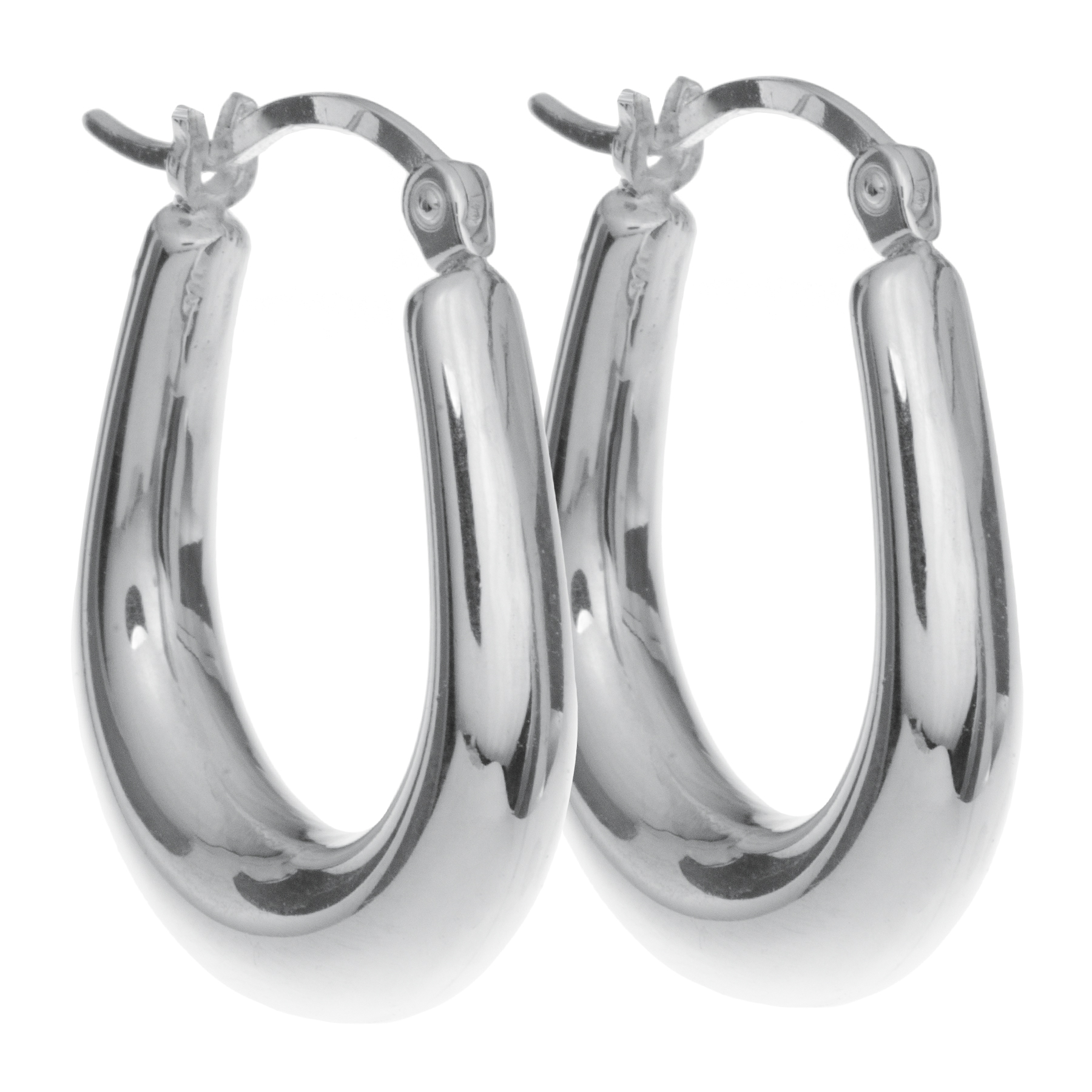 2x 925 Sterling Silver Puff Ring Hoop Huggie Hinge with Notched Post Drop Earrings