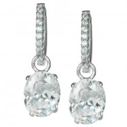 2x Rhodium on Sterling Silver Oval Clear CZ Crystal Charm Hoop Huggie Dangle Earring