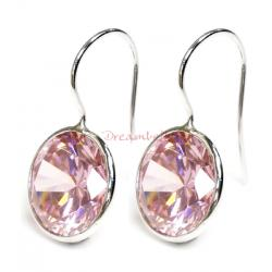 2x Rhodium on Sterling Silver Round Light Pink Rose CZ Crystal French Hook Earwire Earring