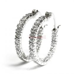 2x Rhodium on Sterling Silver Round Clear CZ Crystal Hoop Earring Set