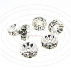 6x SWAROVSKI SILVER RONDELLE CRYSTAL BEAD SPACER 4mm