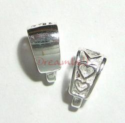 2x Bright Sterling Silver Sweet heart pendant clasp slide